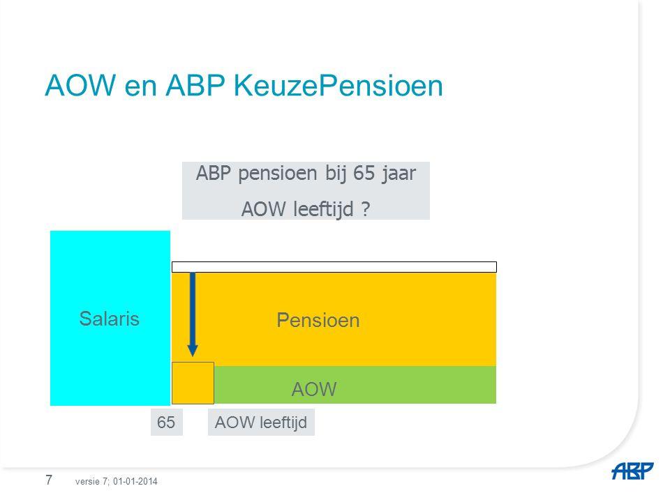 Pensioen bij 65 jaar en bij AOW leeftijd (in dit voorbeeld 67 jaar).