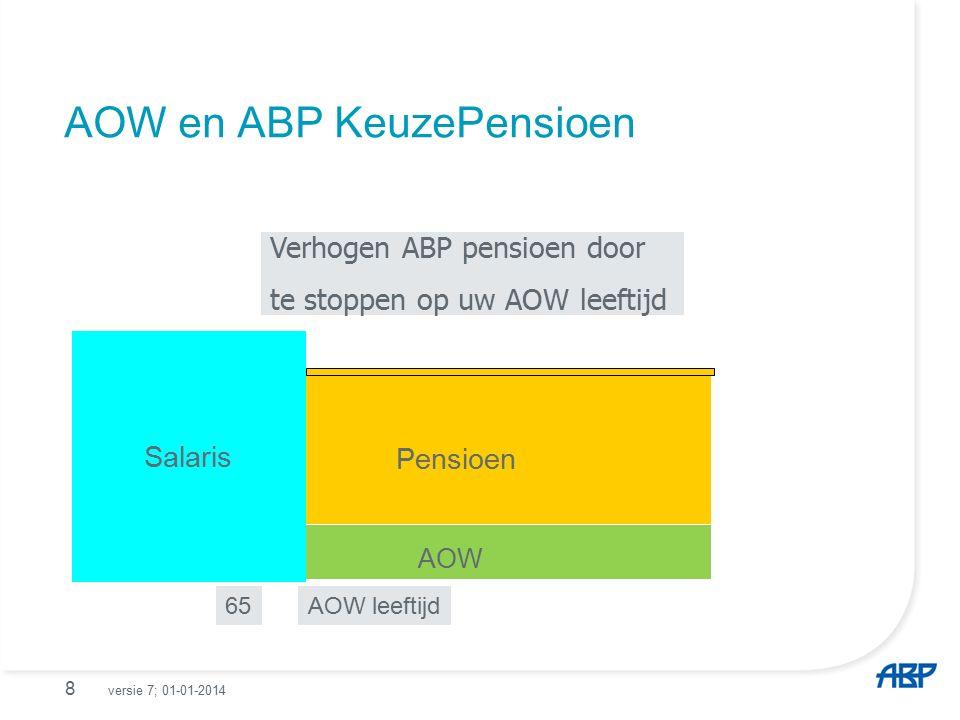 AOW en ABP KeuzePensioen 8 65 Salaris Verhogen ABP pensioen door te stoppen op uw AOW leeftijd Pensioen AOW leeftijd AOW versie 7; 01-01-2014