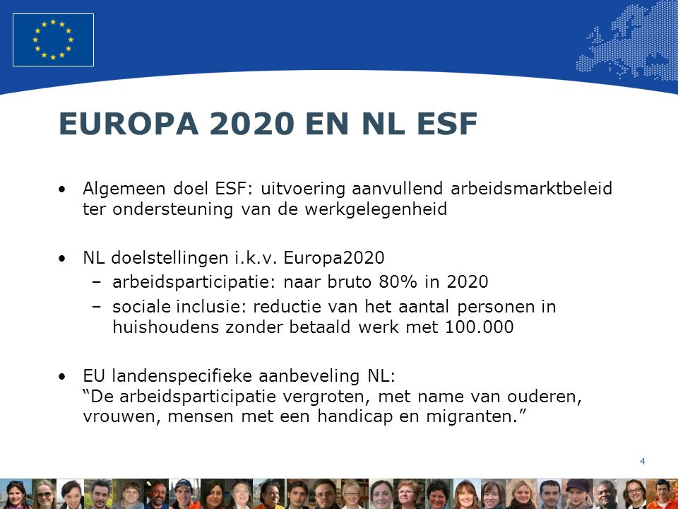 4 European Union Regional Policy – Employment, Social Affairs and Inclusion EUROPA 2020 EN NL ESF Algemeen doel ESF: uitvoering aanvullend arbeidsmarktbeleid ter ondersteuning van de werkgelegenheid NL doelstellingen i.k.v.