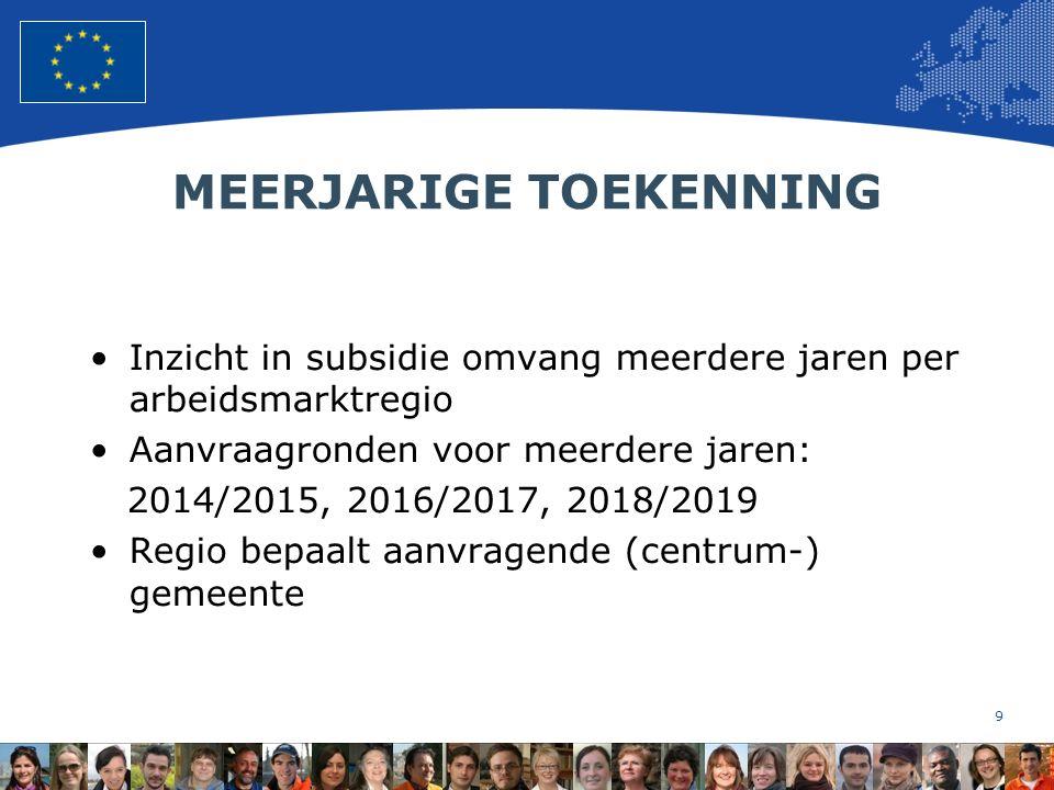 9 European Union Regional Policy – Employment, Social Affairs and Inclusion MEERJARIGE TOEKENNING Inzicht in subsidie omvang meerdere jaren per arbeidsmarktregio Aanvraagronden voor meerdere jaren: 2014/2015, 2016/2017, 2018/2019 Regio bepaalt aanvragende (centrum-) gemeente