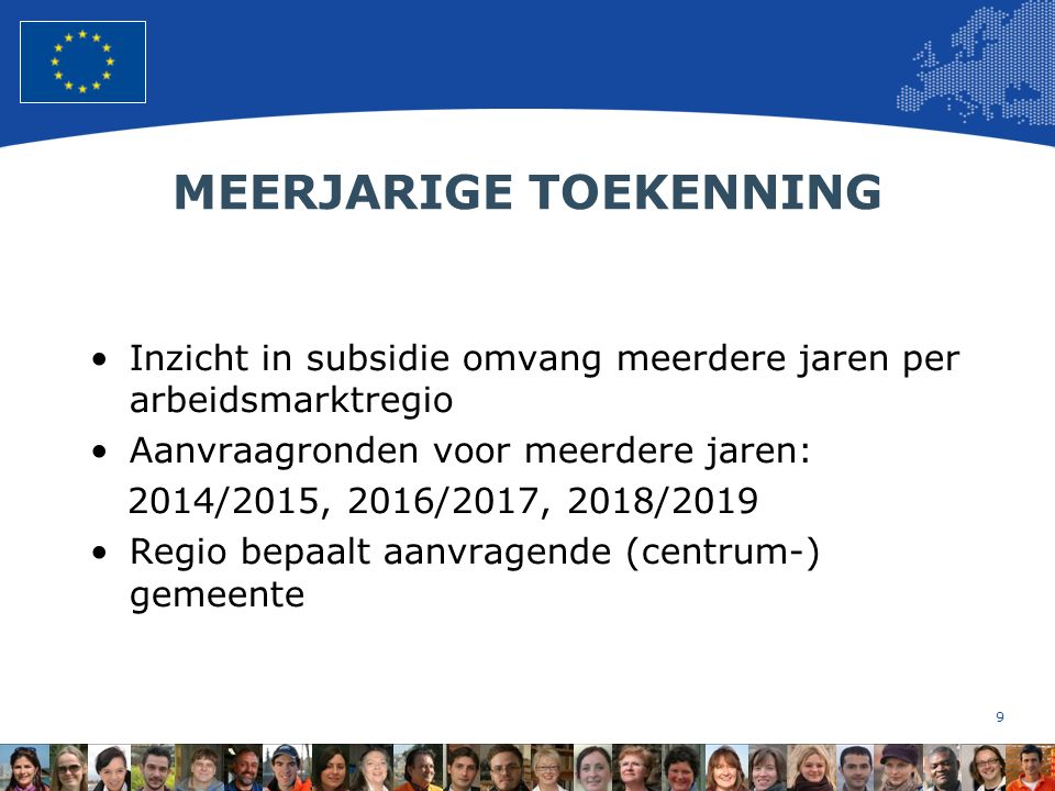 10 European Union Regional Policy – Employment, Social Affairs and Inclusion ESF en ARBEIDSMARKTREGIO'S Verdeling budget over arbeidsmarktregio's Conform verdeling re-integratiemiddelen.