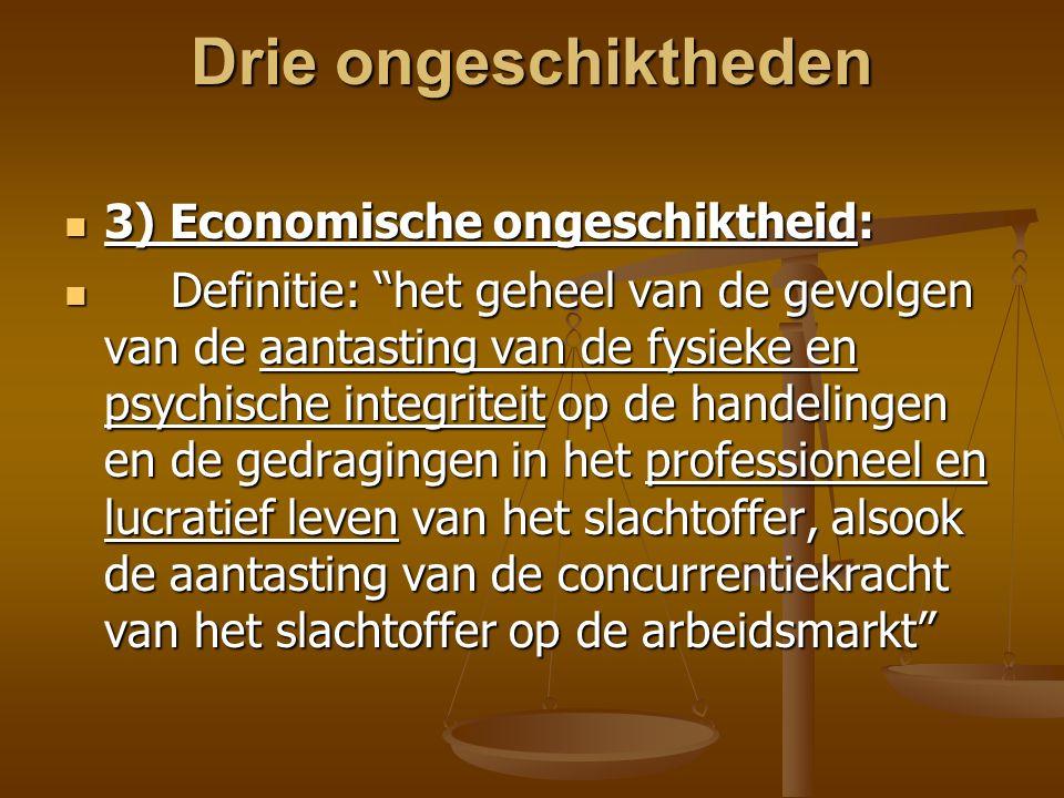 Drie ongeschiktheden 3) Economische ongeschiktheid: 3) Economische ongeschiktheid: Definitie: het geheel van de gevolgen van de aantasting van de fysieke en psychische integriteit op de handelingen en de gedragingen in het professioneel en lucratief leven van het slachtoffer, alsook de aantasting van de concurrentiekracht van het slachtoffer op de arbeidsmarkt Definitie: het geheel van de gevolgen van de aantasting van de fysieke en psychische integriteit op de handelingen en de gedragingen in het professioneel en lucratief leven van het slachtoffer, alsook de aantasting van de concurrentiekracht van het slachtoffer op de arbeidsmarkt