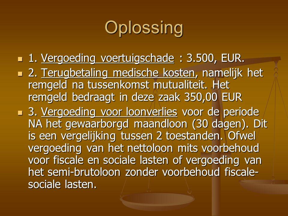 Oplossing 1.Vergoeding voertuigschade : 3.500, EUR.