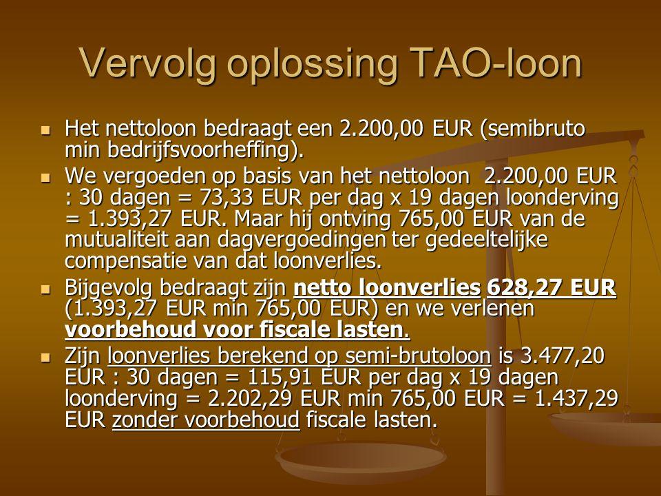 Vervolg oplossing TAO-loon Het nettoloon bedraagt een 2.200,00 EUR (semibruto min bedrijfsvoorheffing).