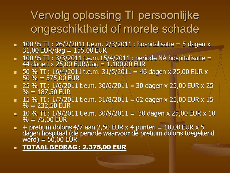 Vervolg oplossing TI persoonlijke ongeschiktheid of morele schade 100 % TI : 26/2/2011 t.e.m.