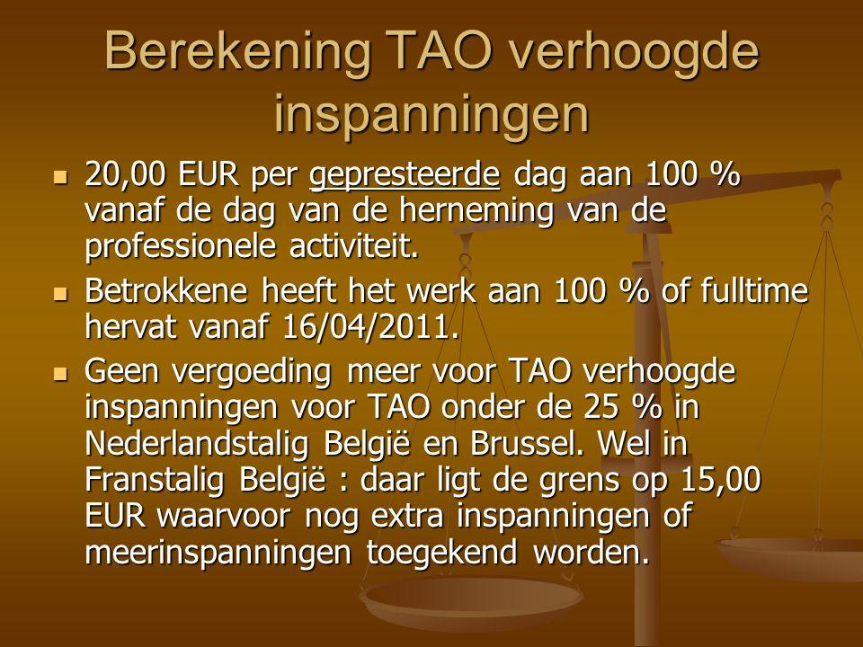 Berekening TAO verhoogde inspanningen 20,00 EUR per gepresteerde dag aan 100 % vanaf de dag van de herneming van de professionele activiteit.