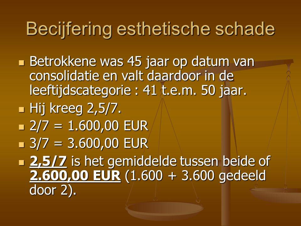 Becijfering esthetische schade Betrokkene was 45 jaar op datum van consolidatie en valt daardoor in de leeftijdscategorie : 41 t.e.m.