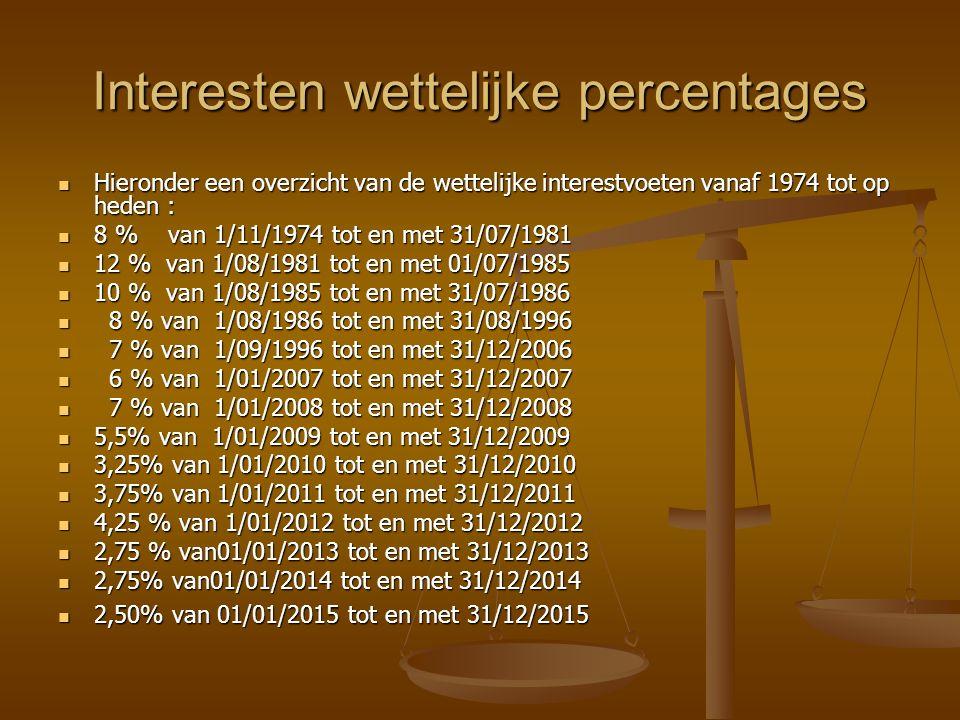 Interesten wettelijke percentages Hieronder een overzicht van de wettelijke interestvoeten vanaf 1974 tot op heden : Hieronder een overzicht van de wettelijke interestvoeten vanaf 1974 tot op heden : 8 % van 1/11/1974 tot en met 31/07/1981 8 % van 1/11/1974 tot en met 31/07/1981 12 % van 1/08/1981 tot en met 01/07/1985 12 % van 1/08/1981 tot en met 01/07/1985 10 % van 1/08/1985 tot en met 31/07/1986 10 % van 1/08/1985 tot en met 31/07/1986 8 % van 1/08/1986 tot en met 31/08/1996 8 % van 1/08/1986 tot en met 31/08/1996 7 % van 1/09/1996 tot en met 31/12/2006 7 % van 1/09/1996 tot en met 31/12/2006 6 % van 1/01/2007 tot en met 31/12/2007 6 % van 1/01/2007 tot en met 31/12/2007 7 % van 1/01/2008 tot en met 31/12/2008 7 % van 1/01/2008 tot en met 31/12/2008 5,5% van 1/01/2009 tot en met 31/12/2009 5,5% van 1/01/2009 tot en met 31/12/2009 3,25% van 1/01/2010 tot en met 31/12/2010 3,25% van 1/01/2010 tot en met 31/12/2010 3,75% van 1/01/2011 tot en met 31/12/2011 3,75% van 1/01/2011 tot en met 31/12/2011 4,25 % van 1/01/2012 tot en met 31/12/2012 4,25 % van 1/01/2012 tot en met 31/12/2012 2,75 % van01/01/2013 tot en met 31/12/2013 2,75 % van01/01/2013 tot en met 31/12/2013 2,75% van01/01/2014 tot en met 31/12/2014 2,75% van01/01/2014 tot en met 31/12/2014 2,50% van 01/01/2015 tot en met 31/12/2015 2,50% van 01/01/2015 tot en met 31/12/2015