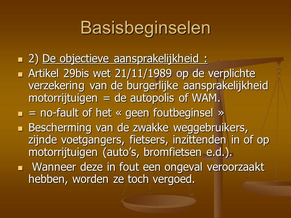 Basisbeginselen 2) De objectieve aansprakelijkheid : 2) De objectieve aansprakelijkheid : Artikel 29bis wet 21/11/1989 op de verplichte verzekering van de burgerlijke aansprakelijkheid motorrijtuigen = de autopolis of WAM.