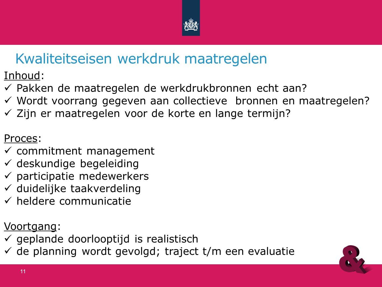 Kwaliteitseisen werkdruk maatregelen Inhoud: Pakken de maatregelen de werkdrukbronnen echt aan? Wordt voorrang gegeven aan collectieve bronnen en maat