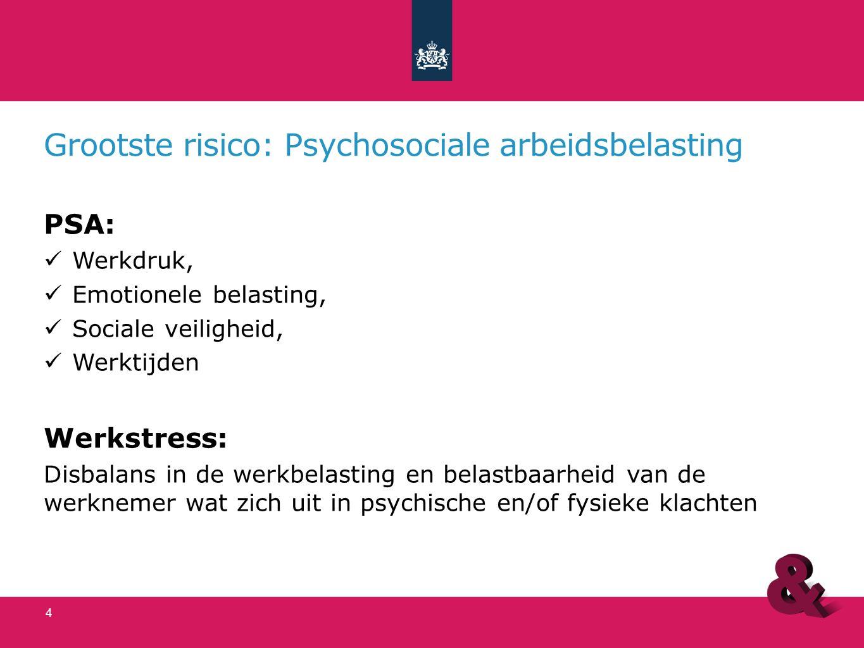 Grootste risico: Psychosociale arbeidsbelasting PSA: Werkdruk, Emotionele belasting, Sociale veiligheid, Werktijden Werkstress: Disbalans in de werkbelasting en belastbaarheid van de werknemer wat zich uit in psychische en/of fysieke klachten 4