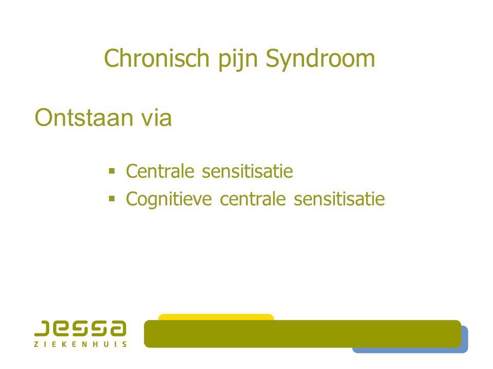 Chronisch pijn Syndroom  Centrale sensitisatie  Cognitieve centrale sensitisatie Ontstaan via