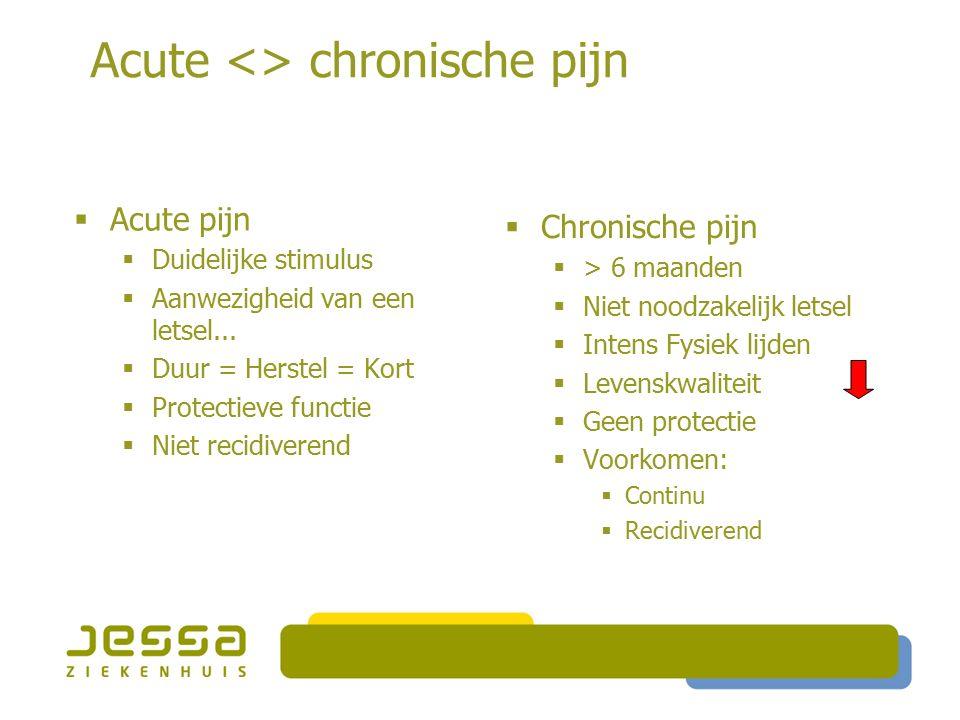 Acute <> chronische pijn  Acute pijn  Duidelijke stimulus  Aanwezigheid van een letsel...  Duur = Herstel = Kort  Protectieve functie  Niet reci