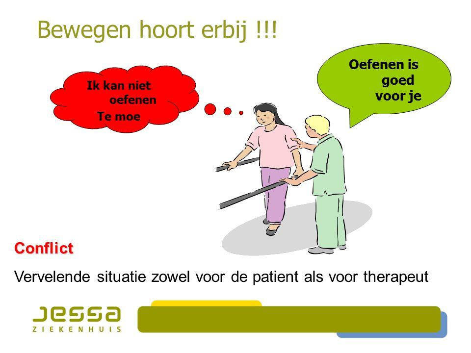 Bewegen hoort erbij !!! Conflict Vervelende situatie zowel voor de patient als voor therapeut Ik kan niet oefenen Te moe Oefenen is goed voor je