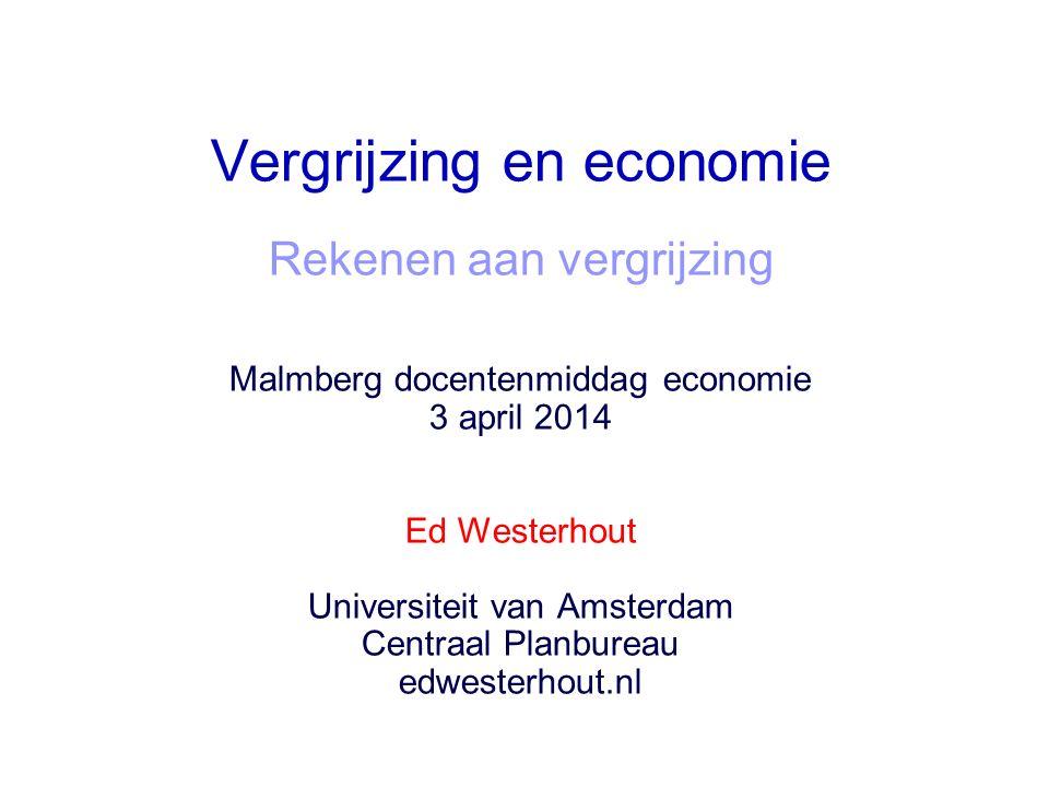 Vergrijzing en economie Rekenen aan vergrijzing Malmberg docentenmiddag economie 3 april 2014 Ed Westerhout Universiteit van Amsterdam Centraal Planbureau edwesterhout.nl