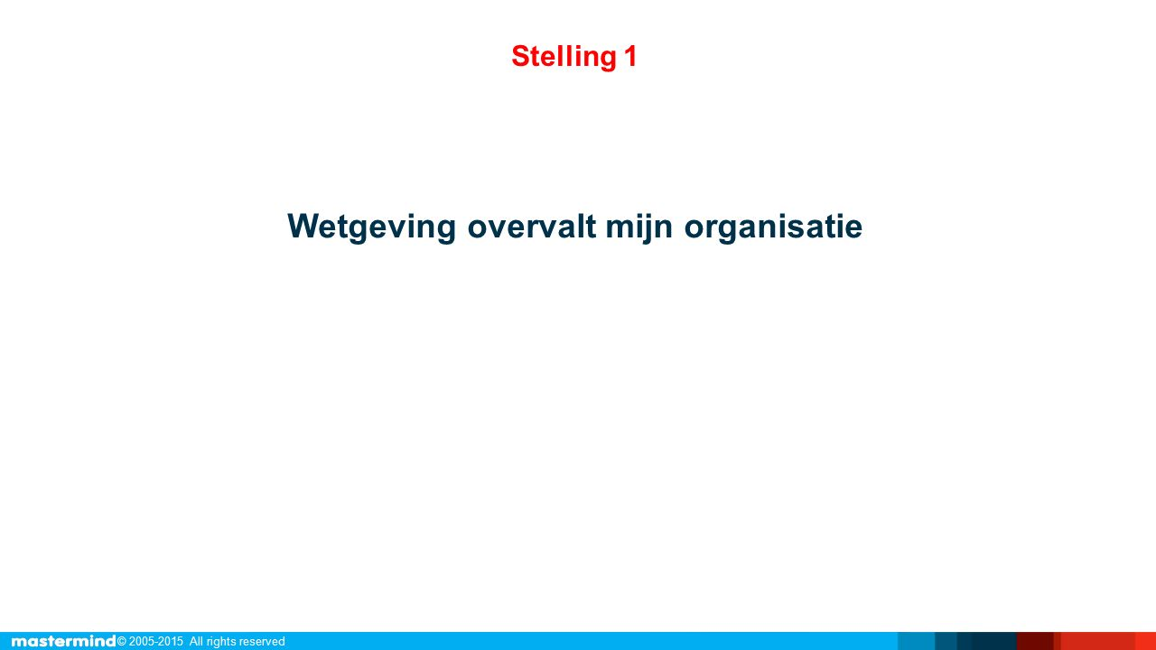 © 2005-2015 All rights reserved Wetgeving is een kans! Stellingen