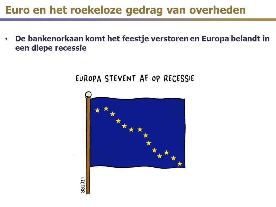 De bankenorkaan komt het feestje verstoren en Europa belandt in een diepe recessie Euro en het roekeloze gedrag van overheden