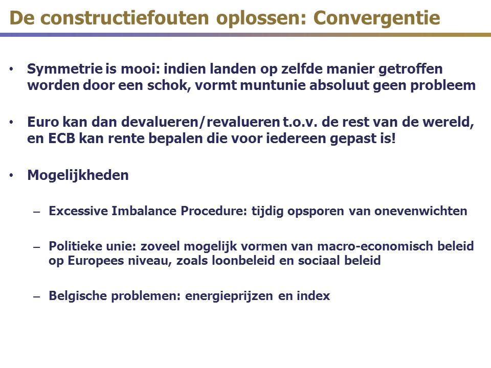 De constructiefouten oplossen: Convergentie Symmetrie is mooi: indien landen op zelfde manier getroffen worden door een schok, vormt muntunie absoluut geen probleem Euro kan dan devalueren/revalueren t.o.v.