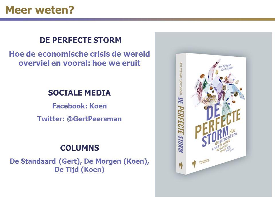 DE PERFECTE STORM Hoe de economische crisis de wereld overviel en vooral: hoe we eruit SOCIALE MEDIA Facebook: Koen Twitter: @GertPeersman COLUMNS De Standaard (Gert), De Morgen (Koen), De Tijd (Koen) Meer weten?