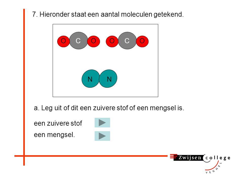 6. Een molecuul van de vaste stof acetylsalicylzuur bevat: 8 koolstofatomen, 8 waterstofatomen en 3 zuurstofatomen. Geef de formule van deze stof. CH