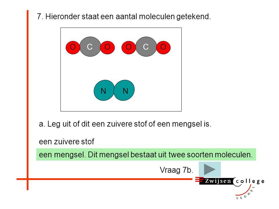 7. Hieronder staat een aantal moleculen getekend. a. Leg uit of dit een zuivere stof of een mengsel is. OOC NN OOC een zuivere stof een mengsel. Er zi