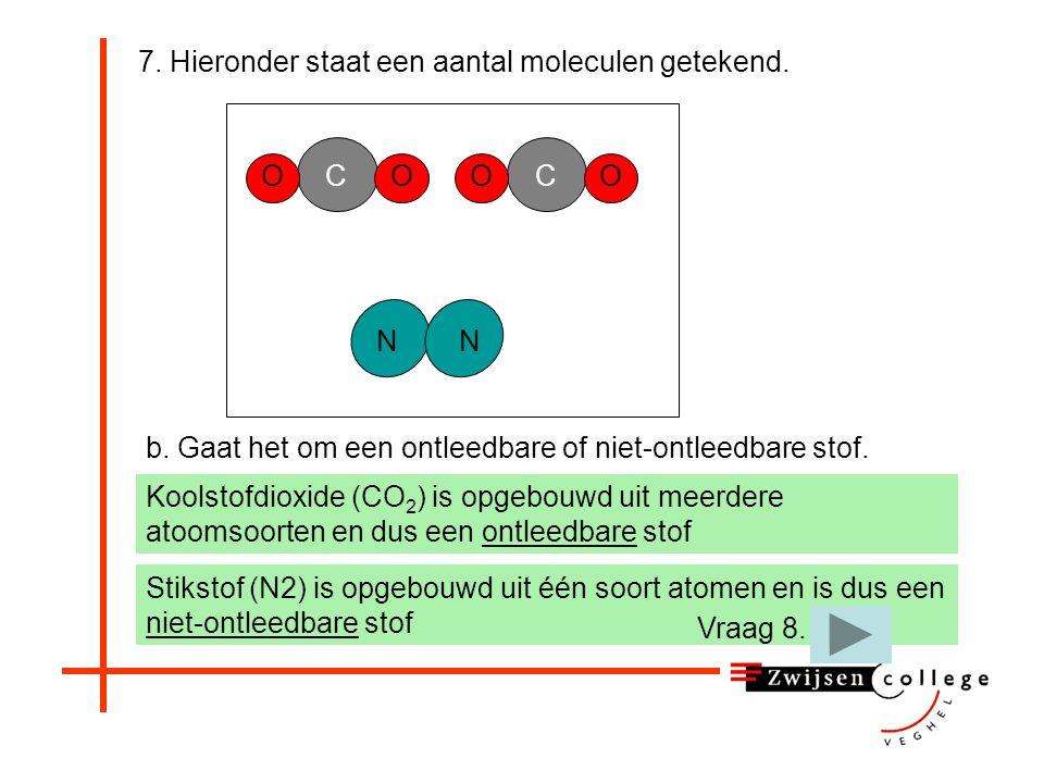 7. Hieronder staat een aantal moleculen getekend. b. Gaat het om een ontleedbare of niet-ontleedbare stof. OOC NN OOC een ontleedbare stof een niet-on