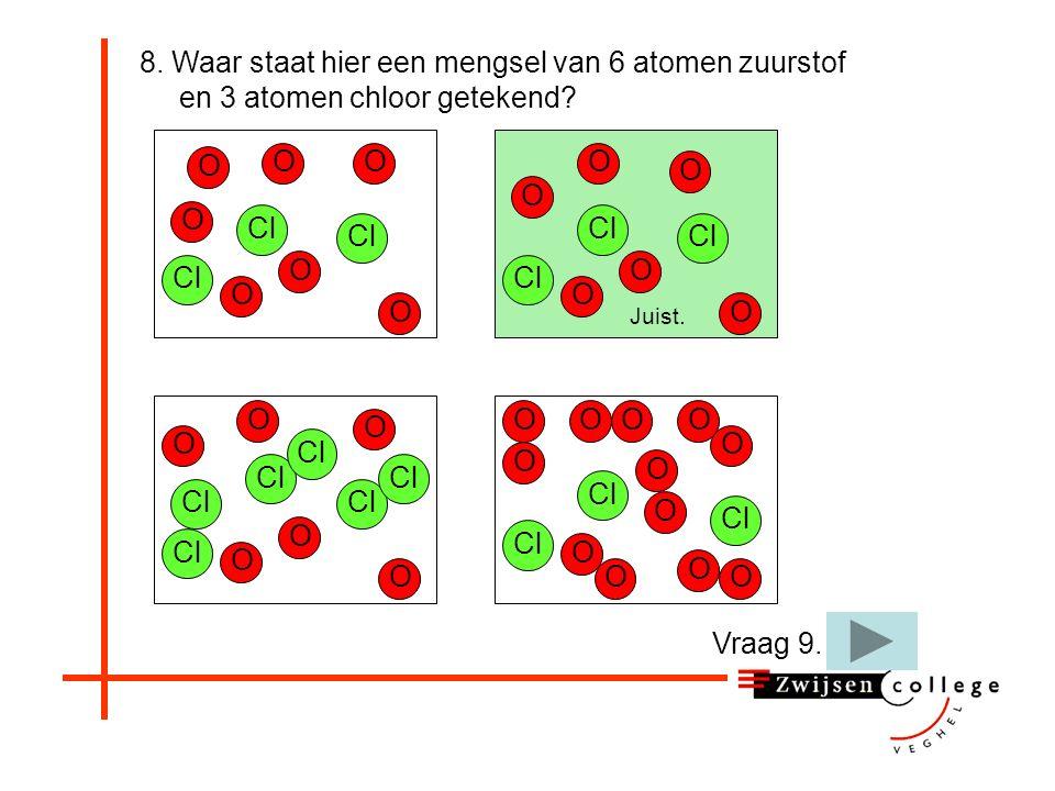 8. Waar staat hier een mengsel van 6 atomen zuurstof en 3 atomen chloor getekend.