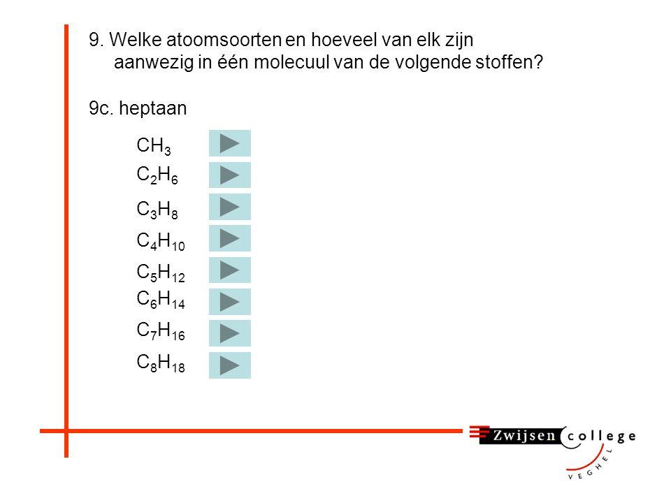 9. Welke atoomsoorten en hoeveel van elk zijn aanwezig in één molecuul van de volgende stoffen? 9b. salpeterzuur HNO 3 (l) Juist! 9b. Dus in salpeterz