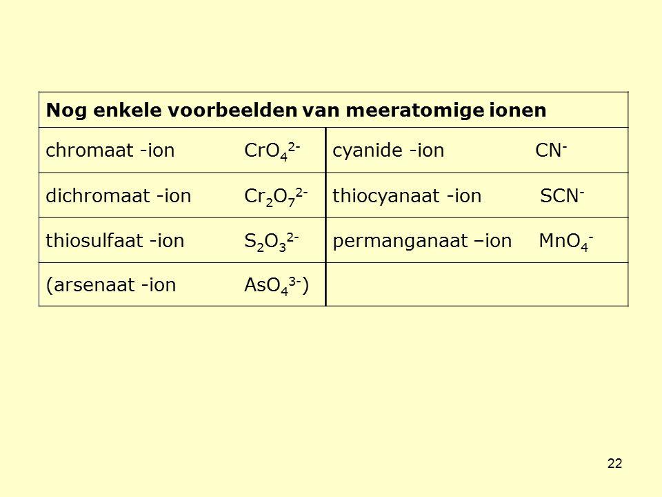 22 Nog enkele voorbeelden van meeratomige ionen chromaat -ion CrO 4 2- cyanide -ion CN - dichromaat -ion Cr 2 O 7 2- thiocyanaat -ion SCN - thiosulfaa
