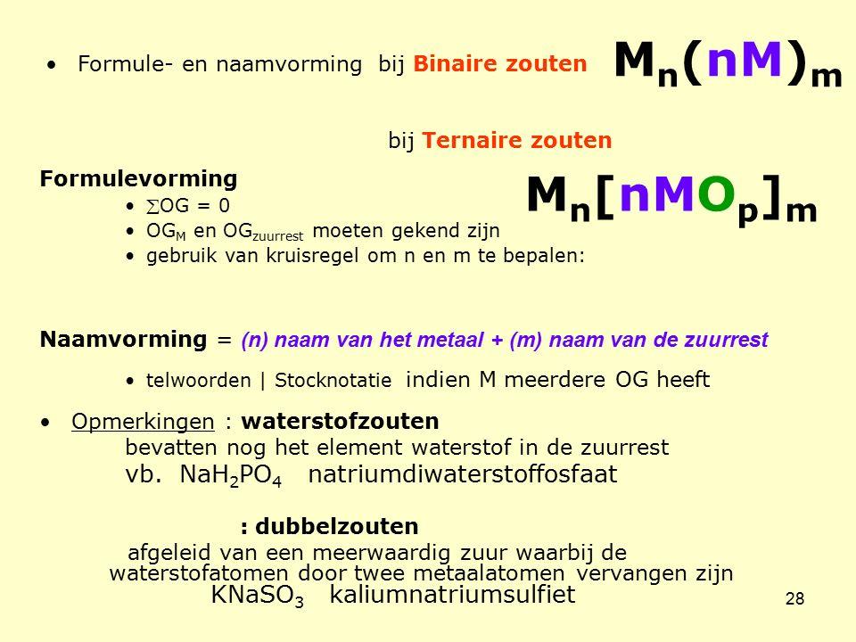 28 Formule- en naamvorming bij Binaire zouten bij Ternaire zouten Formulevorming OG = 0 OG M en OG zuurrest moeten gekend zijn gebruik van kruisregel