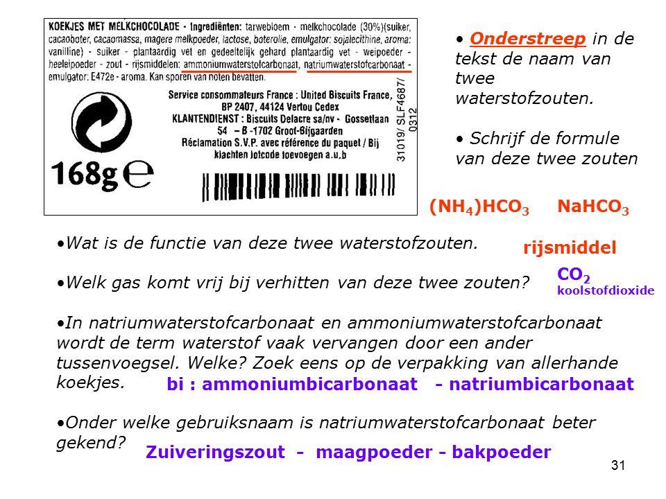 31 Onderstreep in de tekst de naam van twee waterstofzouten. Schrijf de formule van deze twee zouten Wat is de functie van deze twee waterstofzouten.