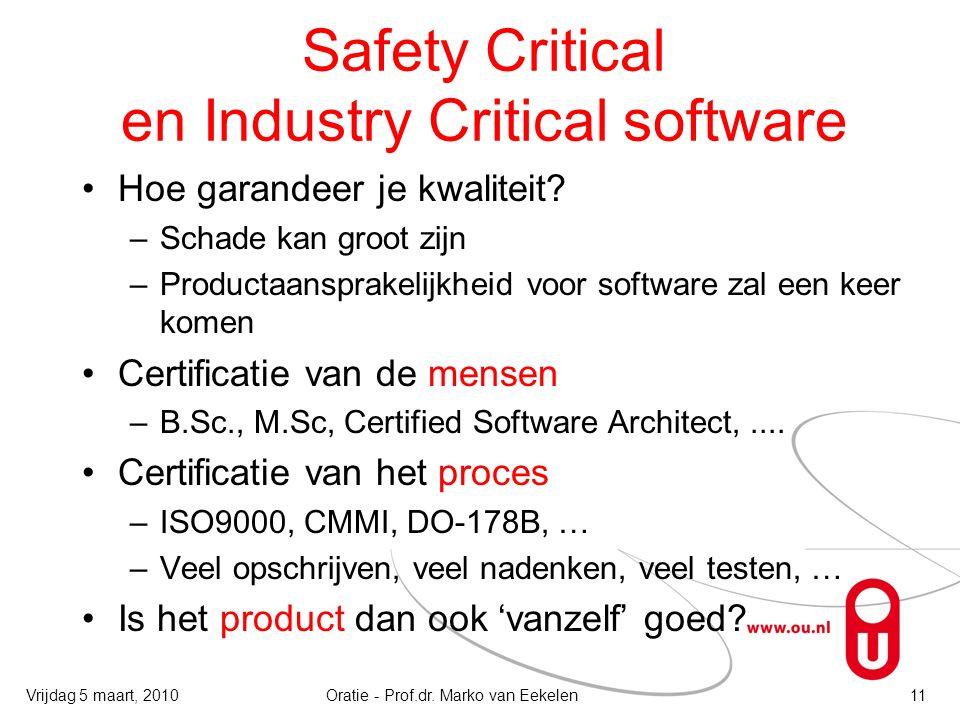 Safety Critical en Industry Critical software Hoe garandeer je kwaliteit? –Schade kan groot zijn –Productaansprakelijkheid voor software zal een keer