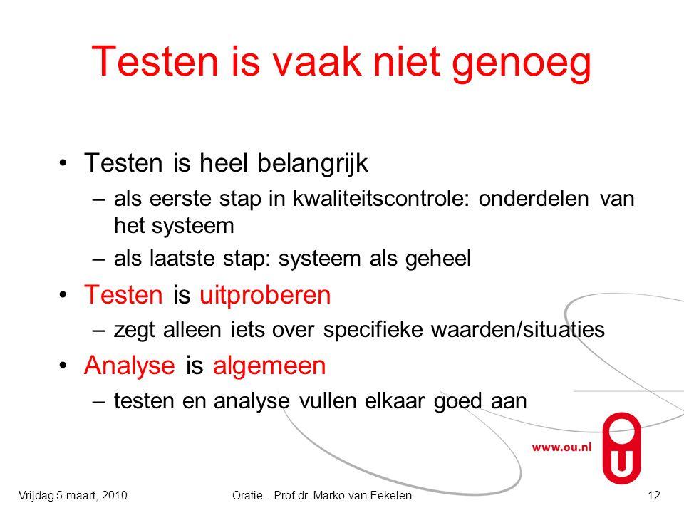 Testen is vaak niet genoeg Testen is heel belangrijk –als eerste stap in kwaliteitscontrole: onderdelen van het systeem –als laatste stap: systeem als