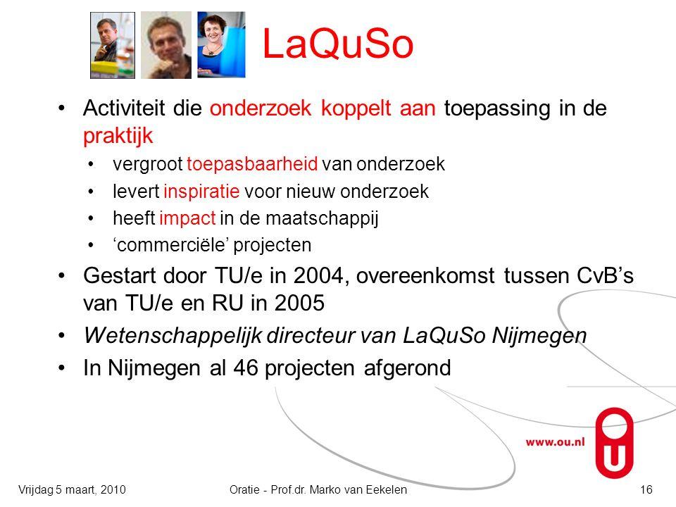 LaQuSo Activiteit die onderzoek koppelt aan toepassing in de praktijk vergroot toepasbaarheid van onderzoek levert inspiratie voor nieuw onderzoek heeft impact in de maatschappij 'commerciële' projecten Gestart door TU/e in 2004, overeenkomst tussen CvB's van TU/e en RU in 2005 Wetenschappelijk directeur van LaQuSo Nijmegen In Nijmegen al 46 projecten afgerond Oratie - Prof.dr.