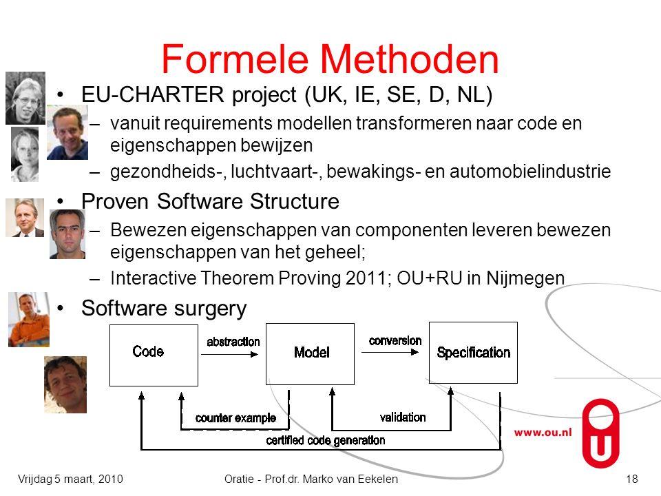 Formele Methoden EU-CHARTER project (UK, IE, SE, D, NL) –vanuit requirements modellen transformeren naar code en eigenschappen bewijzen –gezondheids-, luchtvaart-, bewakings- en automobielindustrie Proven Software Structure –Bewezen eigenschappen van componenten leveren bewezen eigenschappen van het geheel; –Interactive Theorem Proving 2011; OU+RU in Nijmegen Software surgery Oratie - Prof.dr.