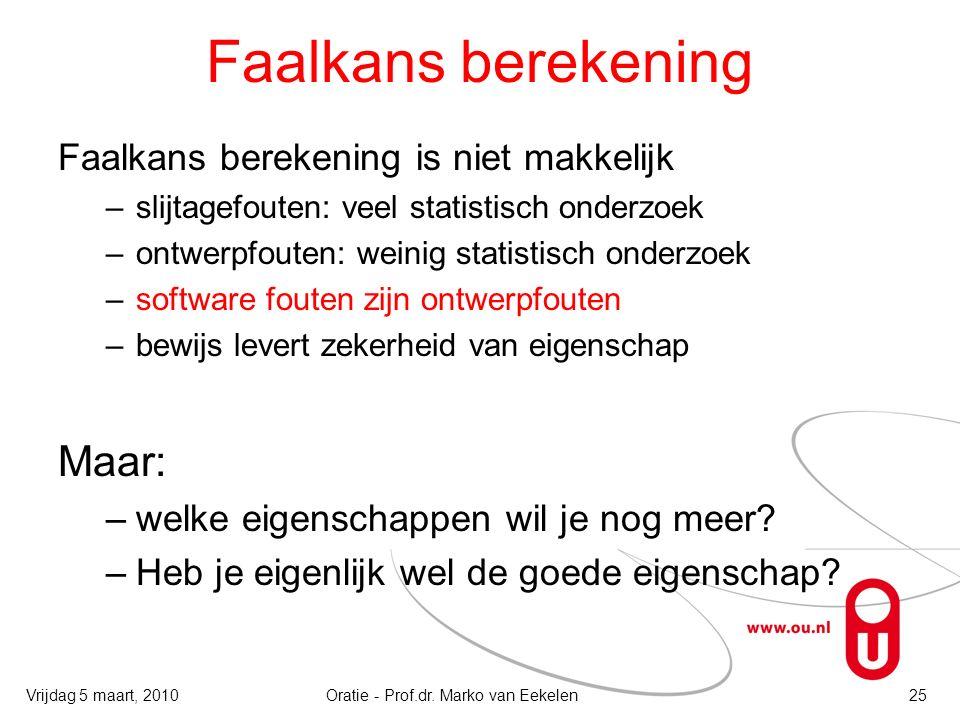 Faalkans berekening Faalkans berekening is niet makkelijk –slijtagefouten: veel statistisch onderzoek –ontwerpfouten: weinig statistisch onderzoek –so