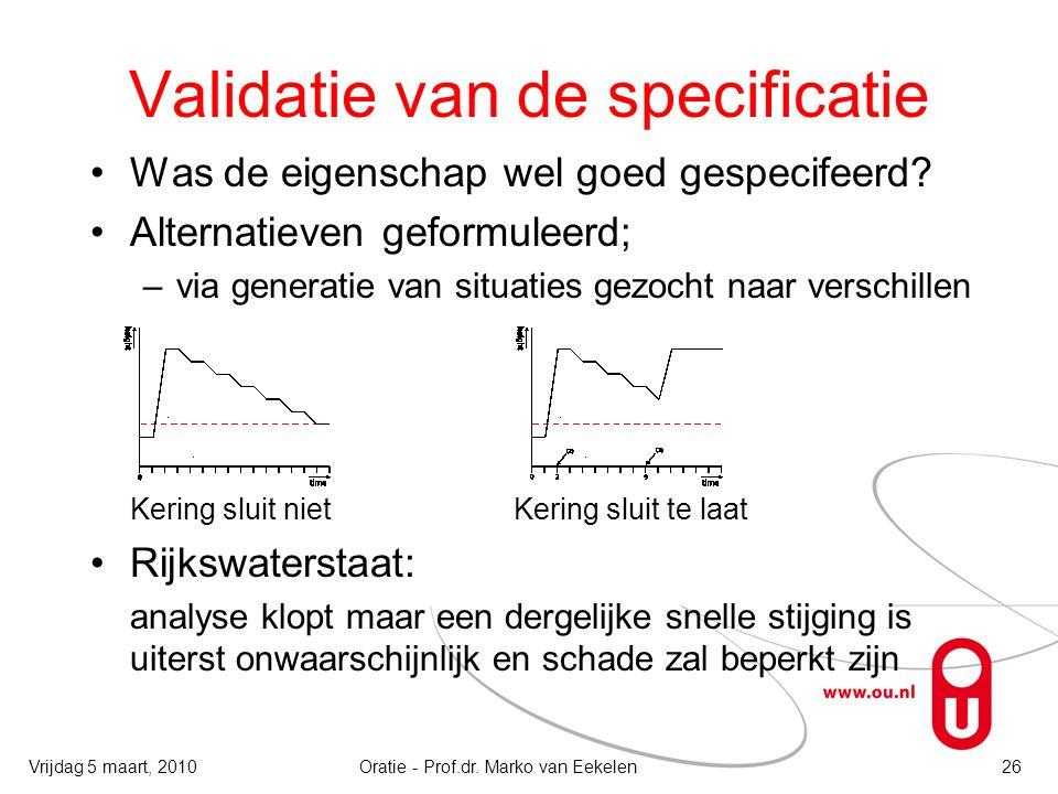 Validatie van de specificatie Was de eigenschap wel goed gespecifeerd? Alternatieven geformuleerd; –via generatie van situaties gezocht naar verschill
