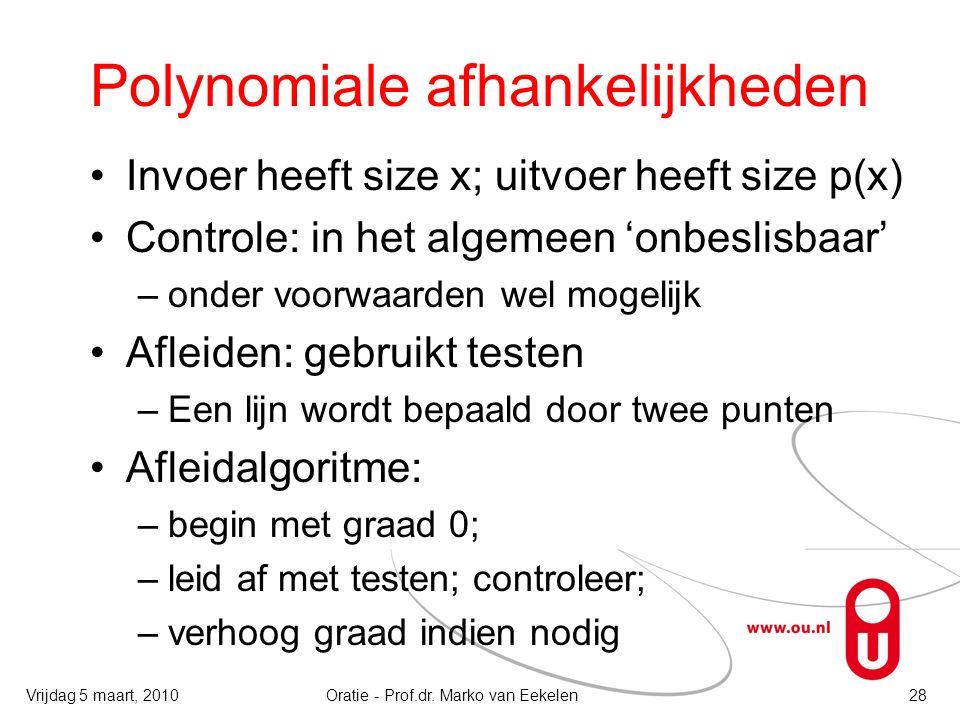 Polynomiale afhankelijkheden Invoer heeft size x; uitvoer heeft size p(x) Controle: in het algemeen 'onbeslisbaar' –onder voorwaarden wel mogelijk Afl