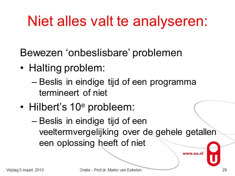 Niet alles valt te analyseren: Bewezen 'onbeslisbare' problemen Halting problem: –Beslis in eindige tijd of een programma termineert of niet Hilbert's 10 e probleem: –Beslis in eindige tijd of een veeltermvergelijking over de gehele getallen een oplossing heeft of niet Oratie - Prof.dr.