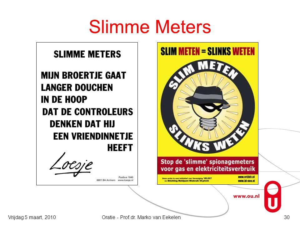 Slimme Meters Vrijdag 5 maart, 2010Oratie - Prof.dr. Marko van Eekelen30