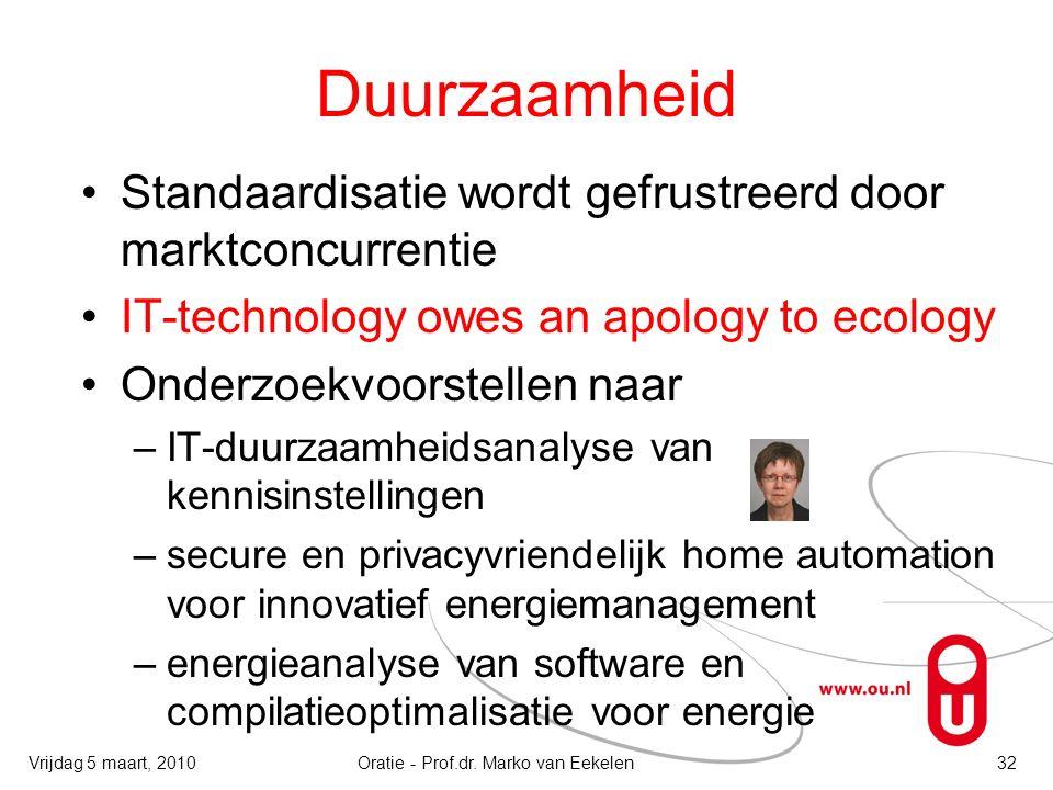 Duurzaamheid Standaardisatie wordt gefrustreerd door marktconcurrentie IT-technology owes an apology to ecology Onderzoekvoorstellen naar –IT-duurzaam