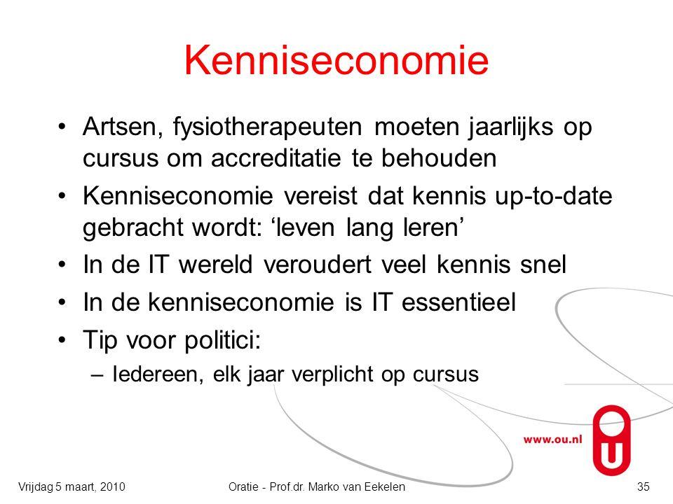 Kenniseconomie Artsen, fysiotherapeuten moeten jaarlijks op cursus om accreditatie te behouden Kenniseconomie vereist dat kennis up-to-date gebracht w
