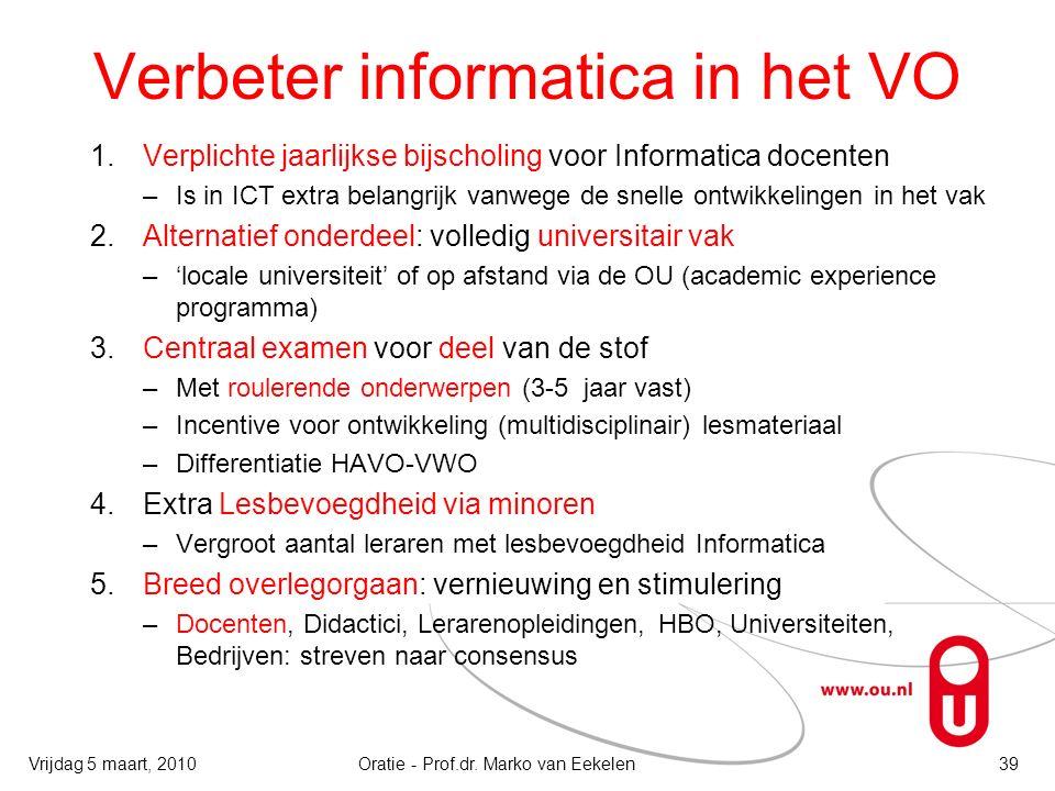 Verbeter informatica in het VO 1.Verplichte jaarlijkse bijscholing voor Informatica docenten –Is in ICT extra belangrijk vanwege de snelle ontwikkelin