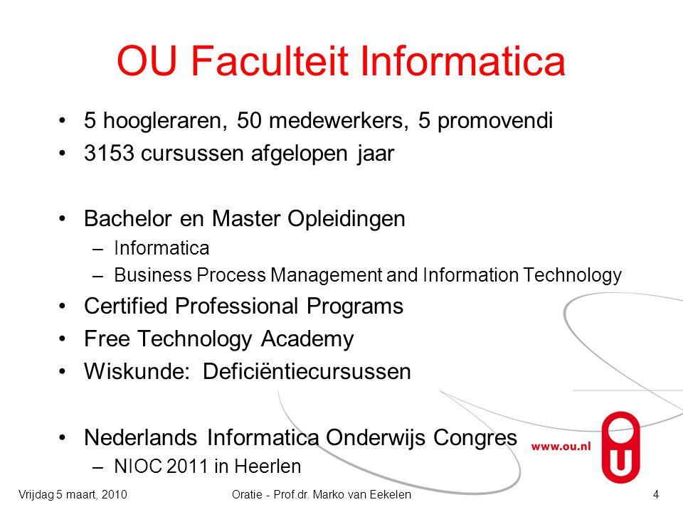 OU Faculteit Informatica 5 hoogleraren, 50 medewerkers, 5 promovendi 3153 cursussen afgelopen jaar Bachelor en Master Opleidingen –Informatica –Busine