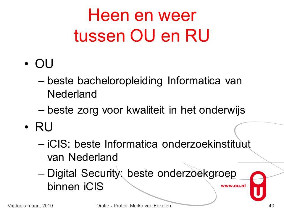 Heen en weer tussen OU en RU OU –beste bacheloropleiding Informatica van Nederland –beste zorg voor kwaliteit in het onderwijs RU –iCIS: beste Informa