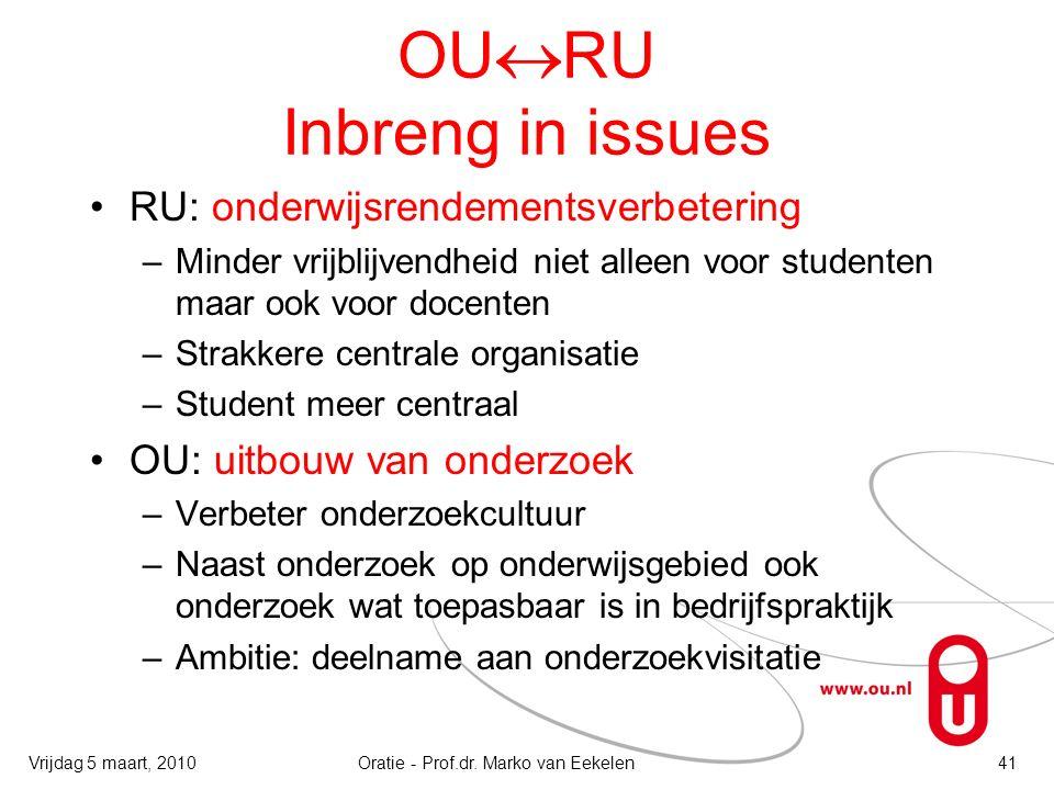 OU  RU Inbreng in issues RU: onderwijsrendementsverbetering –Minder vrijblijvendheid niet alleen voor studenten maar ook voor docenten –Strakkere cen