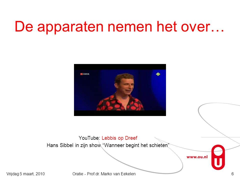De apparaten nemen het over… YouTube: Lebbis op Dreef Hans Sibbel in zijn show Wanneer begint het schieten 6Oratie - Prof.dr.