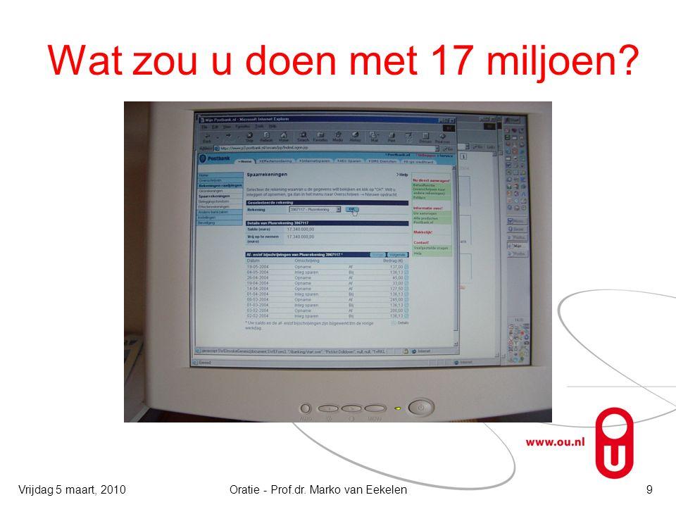 Wat zou u doen met 17 miljoen Oratie - Prof.dr. Marko van Eekelen9Vrijdag 5 maart, 2010