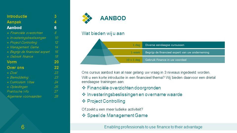 Enabling professionals to use finance to their advantage AANBOD Wat bieden wij u aan Ons cursus aanbod kan al naar gelang uw vraag in 3 niveaus ingedeeld worden.