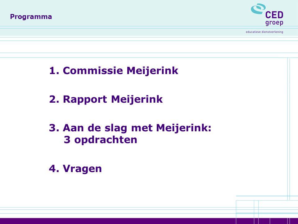 Programma 1. Commissie Meijerink 2. Rapport Meijerink 3.